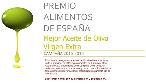 Convocatoria Premio Alimentos de España al Mejor Aceite de Oliva Virgen Extra. Campaña 2015-2016