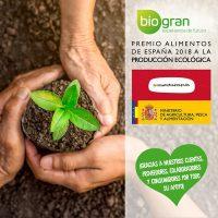 """BIOGRAN reciba el Premio """"Alimentos de España 2018"""" A la Producción Ecológica"""